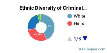 Criminal Justice & Corrections Majors in TX Ethnic Diversity Statistics